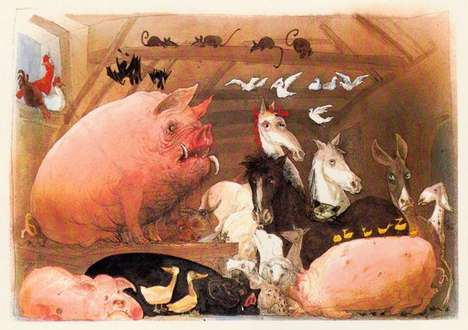 Classic Literature Illustrations - Animal Farm by Ralph Steadman is a Creepily Detailed Series
