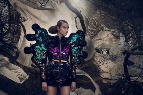 Sculpturally Iridescent Attire - Nikoline Liv Andersen