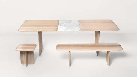Wood-Marble Furniture - The Poise Collection by Box Clever is Surprisingly Simplistic