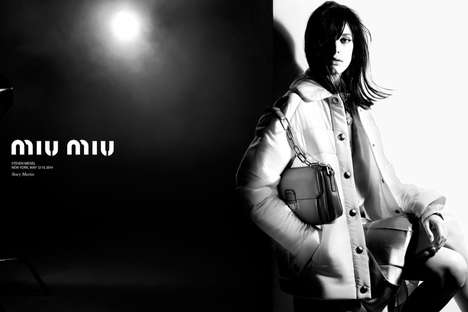 Cinematic Greyscale Fashion Ads - The Miu Miu Fall 2014 Campaign Stars Actress Stacy Martin