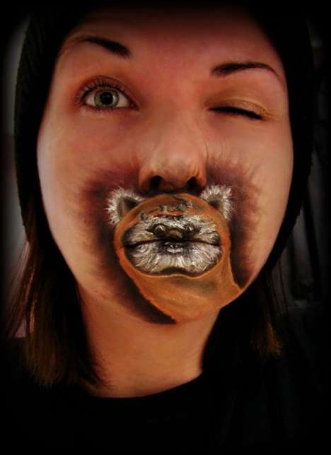 Sci-Fi Character Beauty Looks - Ewok Lips by Crystal Effin Overland is a Slightly Creepy Portrait