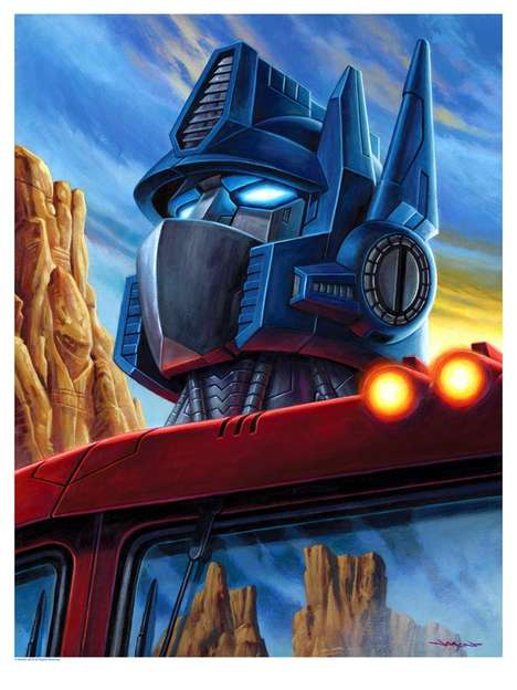 Robotic Film Paintings - Jason Edmiston's Transformers Art Celebrates the Film's Latest Release