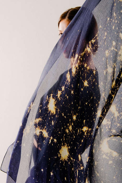 Starry Night Scarves - The USA by Night Scarf is Printed with a NASA Space Image