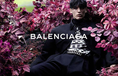 Fierce Flower Bed Campaigns - The Balenciaga Fall/Winter 2014/2015 Advertorial Boasts Modern Shapes