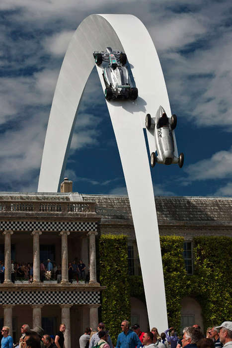 Soaring Auto Installations - This Steel Sculpture Featured in the Goodwood Festival of Speed