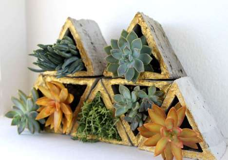 Modular Wall Planters - These DIY Cement Triangle Planters Add Some Green to Your Wall Space