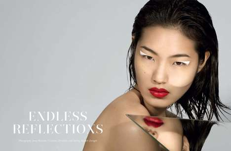 Egotistically Mirrored Editorials - The Narcisse Magazine Issue 2 Cover Shoot Stars Chiharu Okunugi