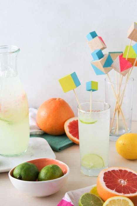Modular Stirring Sticks - These DIY Wooden Drink Stirrers are Filled With Summer Colors