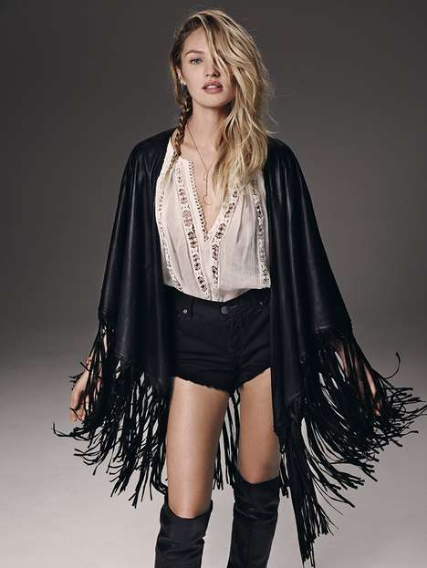 Boho Leather Lookbooks - The Free People Catalog Stars Candice Swanepoel