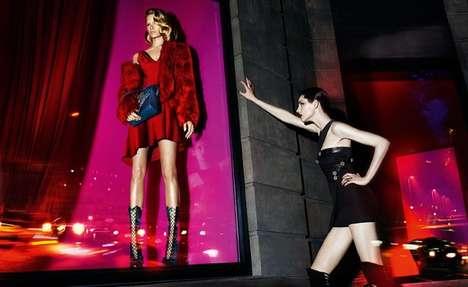 Glossy Neon Fashion Ads - The Versace Fall 2014 Campaign is Sophisticated and Sensual