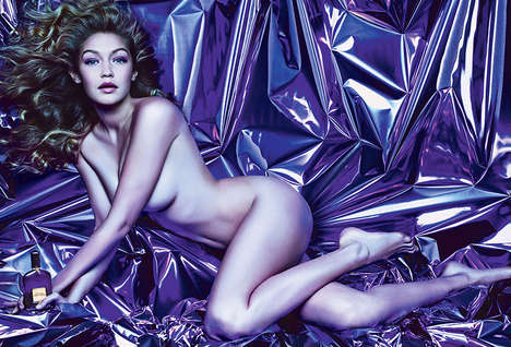 Bareskin Perfume Campaigns - Gigi Hadid Stuns in the Tom Ford Velvet Orchid Fragrance Ad