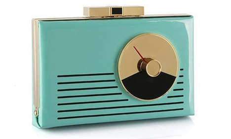 Retro Radio Purses - The Samira Kate Spade Clutch is Shaped Like an Old Music Player