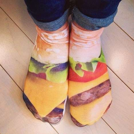 Food-Featuring Footwear - These Delectable Cheeseburger Socks From Living Royal are Toe-Licking Good