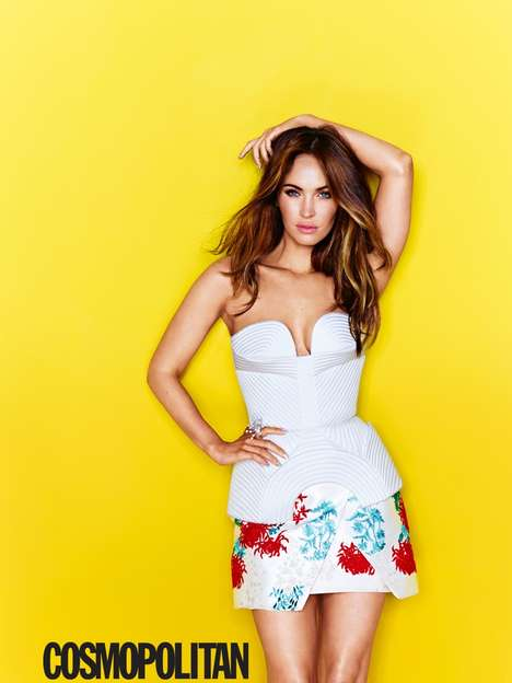 Sultrily Happy Editorials - The Cosmopolitan Magazine August 2014 Cover Shoot Stars Megan Fox