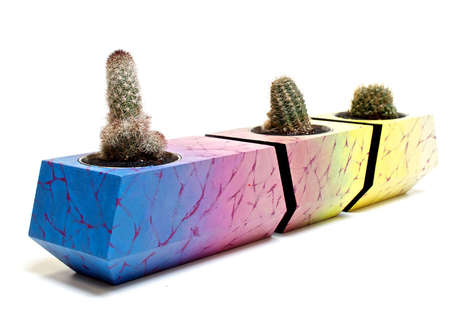 Modular Polychrome Planters - The Boxcar One Series is a Small Plant Pot Collection That