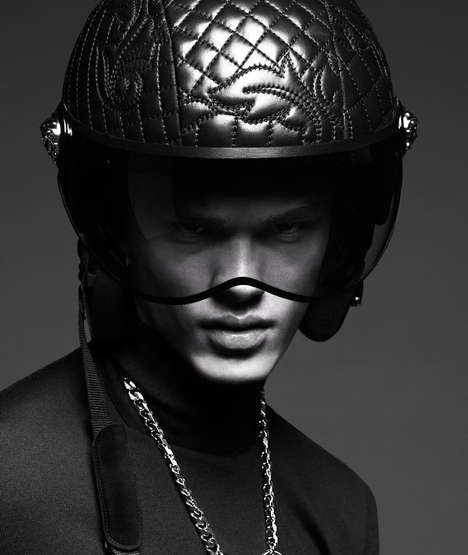 Opulent Biker Adverts - The Versace Fall/Winter 2014 Campaign Reveals Luxe Motorcycle Gear