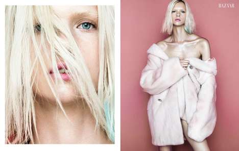 Chic Platinum Editorials - Model Alyona Subbotina Poses for Harper