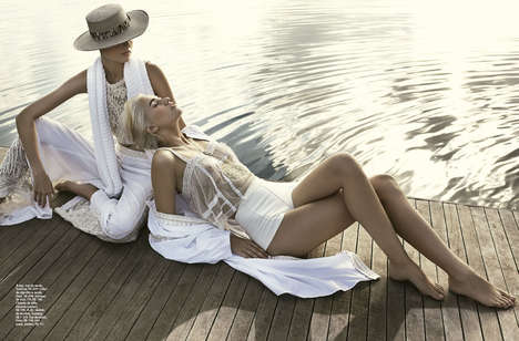Lounging Countryside Editorials - The Elle Brazil Issue Features Country Club Fashion