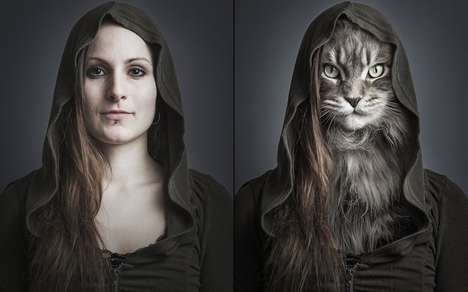Feline Fusion Photography - UnderCats Swapped Cat Faces with those of Cat Owners