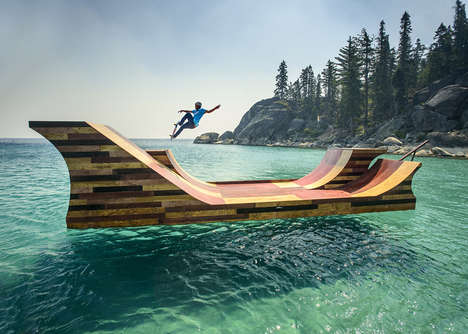 Floating Skateboard Ramps - This Floating Ramp Allows You to Skate Over Lake Tahoe