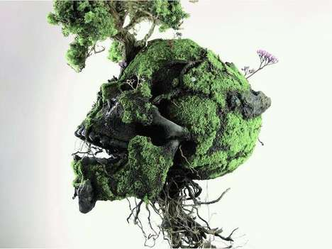 Leafy Skeletal Sculptures - Sculptor Emeric Chantier Covers Fossilized Skulls with Plants