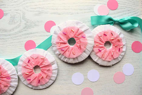 Papery Donut Decorations - This Tissue Garland Cleverly Looks Like a Delicate Sprinkled Dessert