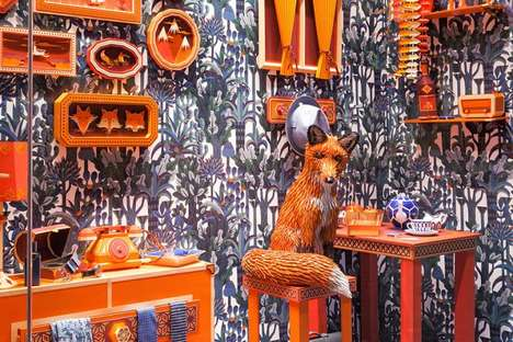 Fox Den Window Displays - This Vibrant Hermes Window Display Shows a Fox at Home