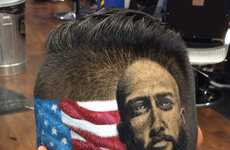 Portraiture Shaved Haircuts - These Shaved Head Portraits of Famous Faces are Incredibly Detailed