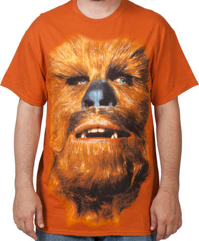 Galactic Character Tees - This Star Wars T-Shirt Features a Close-Up Print of Chewbacca's Face