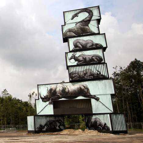 Caged Creature Graffiti - Graffiti Artist ROA Depicts Creatures Held in Captivity