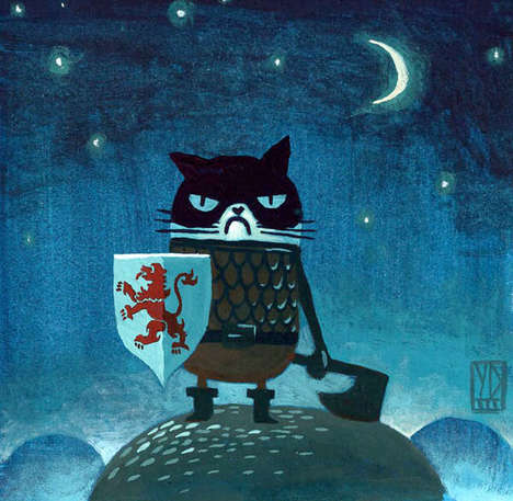 Medieval Feline Artwork - This Cat Illustration Series Has a Very Game of Thrones-Look to It