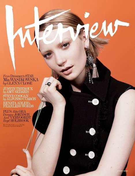 Enigmatic Celeb Editorials - Mia Wasikowska Stars in the Interview Magazine August 2014 Cover Story