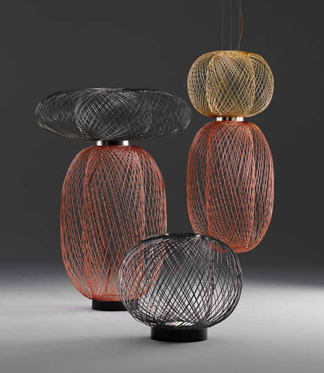 Airy Metal Lighting - ANWAR by Stephen Burks is Akin to Weaved Baskets