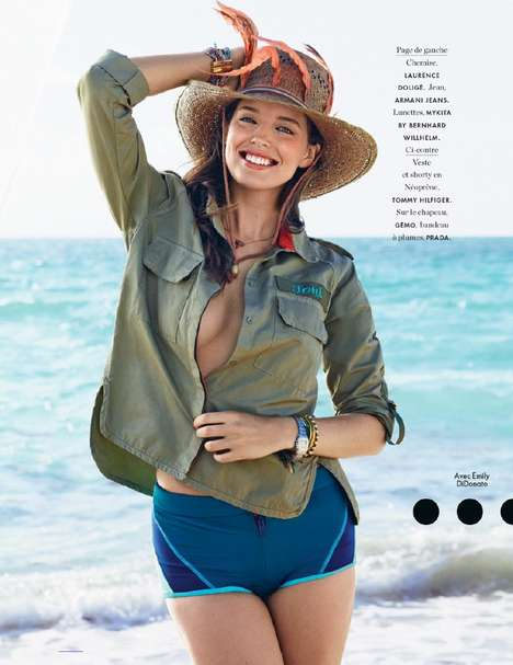 Cheeky Vacation Editorials - Emily DiDonato Stars in the Elle France July 2014 Cover Feature