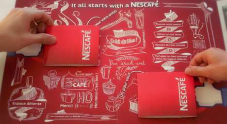 Pop-Up Paper Coffee Mugs - Nescafe Equipped Newspapers with Two Cups to Start Conversations