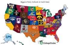 Collegiate Party Infographics - This Infographic Shows the Top Party Schools in the USA