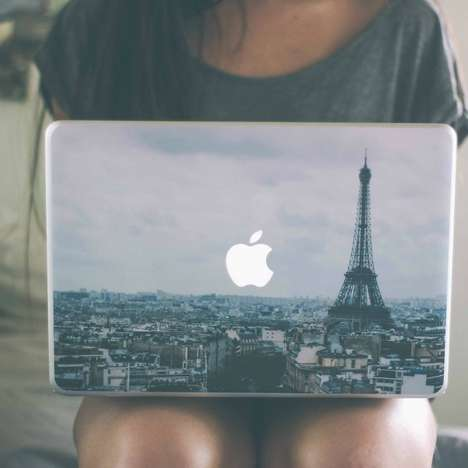 Pretty Parisian Decals - This Paris MacBook Skin Makes the Apple Logo Visible on the French Skyline