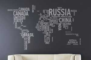 The Different World Wall Stickers Spells Out Each Country
