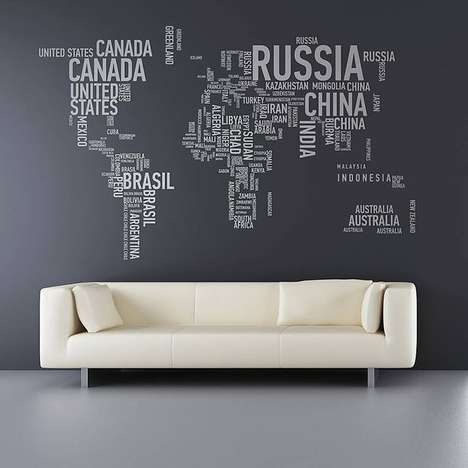 Typographic Continental Decals - The Different World Wall Stickers Spells Out Each Country