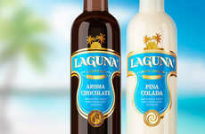 Tropical Liqueur Bottles - Packaging for the Laguna Sweet Liqueur Captures Island Decadence
