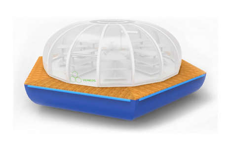 Floating Greenhouse Solutions - The Vereos Hydroponics Farm is Designed for Coastal Megacities
