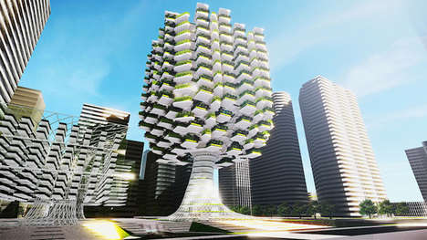 Tree-Shaped Skyscrapers - Urban Skyfarm by Studio Aprilli Conceptualizes Vertical Farming in Korea