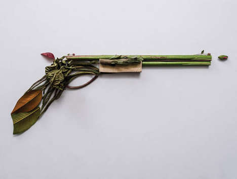 Foliage Firearm Photography - Artist Sonia Rentsch Recreates Popular Weapons with Foliage