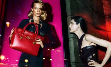 Glossy Neon Ads (UPDATE) - The Versace FW14 Campaign Stars Anna Ewers and Stella Tennant