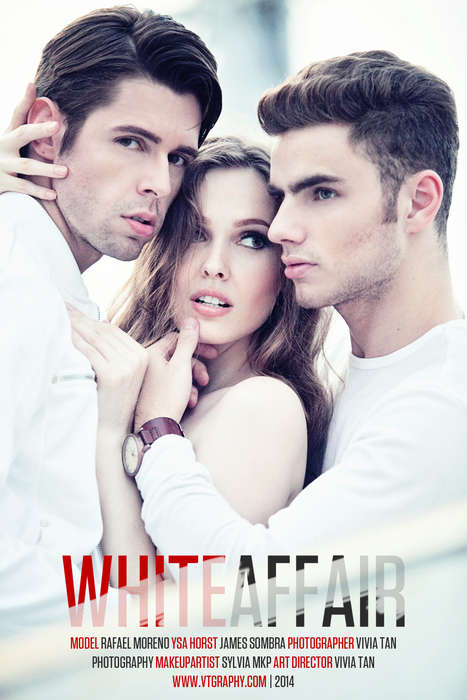 Love Triangle Photoshoots - White Affair by Vivia Tan Involves a Theatrical Threesome