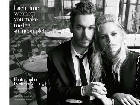 Anguished Cafe Editorials - The Vogue Italia July 2014 Issue Features Couples Cuddling in Eateries
