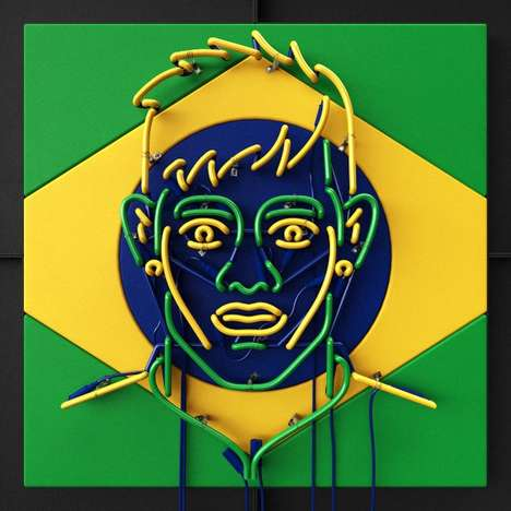 Illuminated Football Fan Art - The Neon / FIFA World Cup Series by Rizon Parein Celebrates Soccer