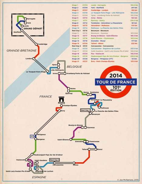 Cycling Tour Subway Maps - This Tour De France Map is Styled to Look Like the London Underground