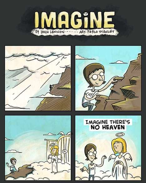 Classic Song Illustrations - John Lennon's 'Imagine' is Just as Powerful in the Form of a Cartoon