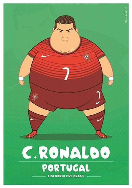 Overweight Soccer Players Makeovers - This World Cup Players Illustration Series is Comical & Cheeky